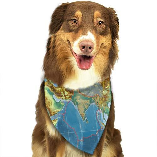 Sitear Indische Tectonische plaat geschetst op de wereldwijde topografische reliëf kaart hond kat Bandana driehoek slabbetjes sjaal huisdier Kerchief halsdoek Set voor kleine tot grote hond katten aangepast