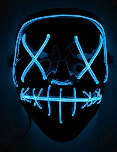 Queta LED-Maske Halloween-Maske Mord-Nacht schwarz-blau Einheitsgröße