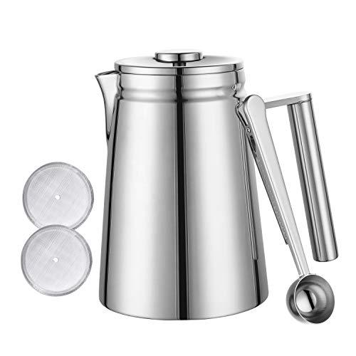 Meelio Kaffeepresse,French Press 800ML(5 Tassen), aus hochwertigem Edelstahl, mit Zwei zusätzlichen Filtersieben und Dosierlöffel, doppelwandig isoliertes Behälter, Coffee Press