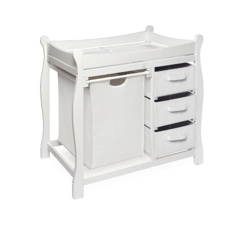 Sleigh Style Changing Table with Hamper & Three Baskets White