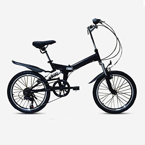 Bicicleta de montaña plegable de 20 pulgadas de velocidad variable de 6 velocidades de alto carbono marco de acero absorción de choque V freno todo