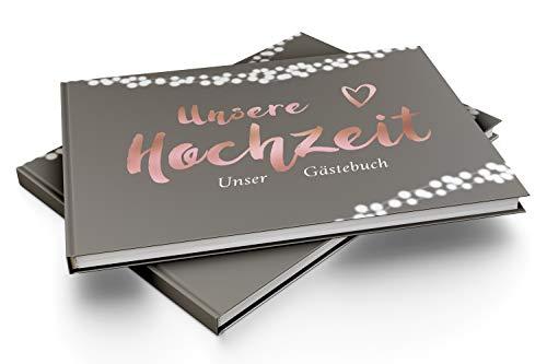 Gästebuch mit Fragen | grau, roségold - 4