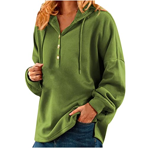 Women Oversize Hooded Sweatshirts 1/4 Button Up Retro Long Sleeve Shirt Drawstring Side Slit Tops Fall Pullover Blouse Green