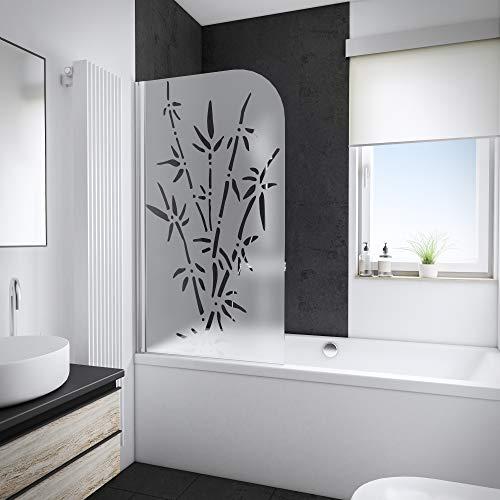 Schulte D1650-F 41 35 Pare baignoire pivotant, paroi rabattable, 1 volet pliant, verre décor bamboo, 80 x 140 cm