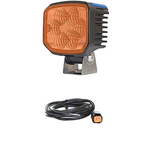 Hella 1GA 996 288-041 Arbeitsscheinwerfer - Power Beam 1500 - LED - 12V/24V - 1300lm - weitreichende Ausleuchtung + Kabelsatz, Arbeitsscheinwerfer, 2.000 mm Leitung mit Deutsch-Stecker, Schwarz