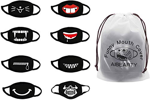 AIBEARTY 8 Pack Unisex Cute Funny Cotton Washable Reusable Mouth Cover for Party Festival Cosplay,Black