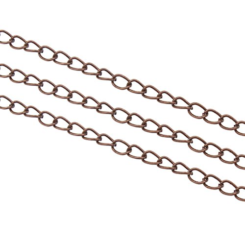 Perlin – 9 Metre Link Chain Metal Chain Twist Curb Chain 5.5 mm Silver, Gold, Copper, Antique Silver Jewellery Chain Sold by the Metre for Jewellery Making Necklaces Bracelets DIY Crafts copper