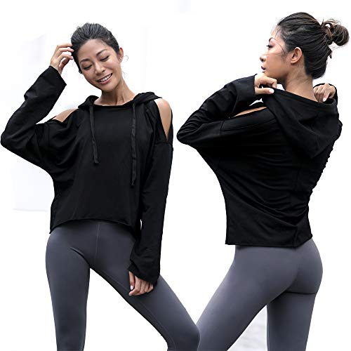 La Nikar Workout Running Hoodies for Women - Loose Long Sleeve Top with Pocket for Fitness Gym, S0326black, Large