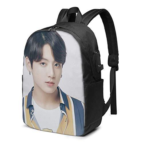 Hdadwy B+T = S Jungkook bolsa de viaje para portátil para mujeres hombre mochila de ordenador grande con puerto de carga USB casual senderismo mochila