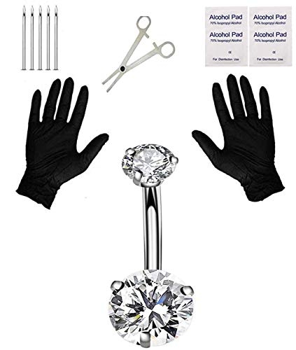 Jconly Belly Piercing Kit - 14G Belly Button Ring with 316L Steel Piercing Needles and Piercing Clamp Belly Kit
