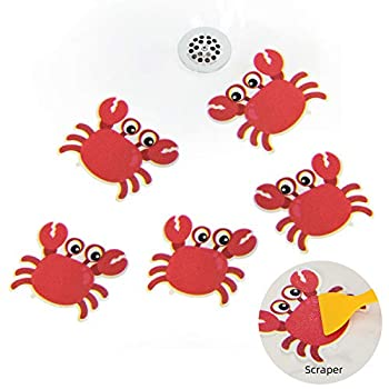 KarlunKoy Non Slip Bathtub Stickers Safety Shower Treads Sticker Tub Tattoo Crab Shaped Bathroom Applique Decal with Scraper Pack of 5 Red