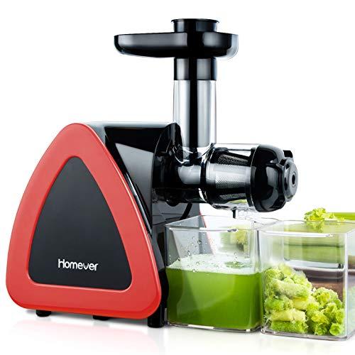 Slow Juicer, Homever BPA-frei Entsafter Gemüse und Obst, Profi Juicer Ausgestattet mit Einem Geräuscharmen Motor & Überspannungschutz & Saftkanne & Reinigungsbürste(Rot)