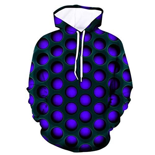 Xmiral Herren Pullover mit Kapuze 3D Solide Geometrie Drucken Persönlichkeit Psychedelisch Kapuzenpullover Sweatjacke Hoodie Sweatshirts(a Blau,M)
