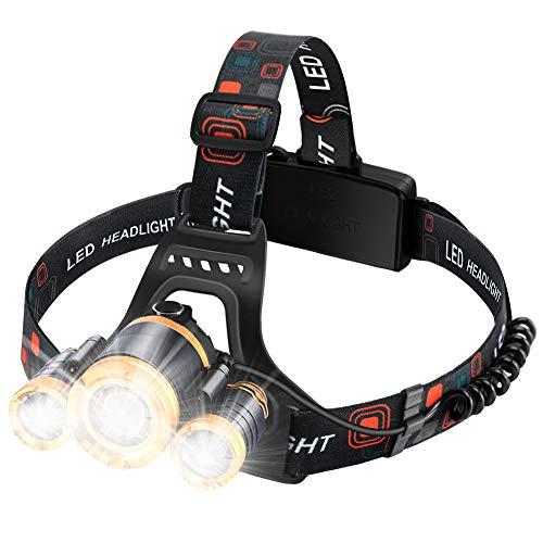 MAS MODO Headlamp Flashlight USB Rechargeable  LED Brightest 6000 lumens Work HeadlightIPX6 Waterproof amp 18650 Flashlight with Zoomable Work LightHead Lights for Camping Hiking OutdoorsFishi …
