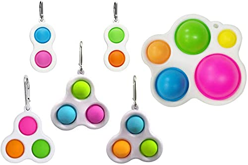 plhzh 6 Paquete Simple Dimple Fidget Toy, Popper Simple Dimple Fidget Para Juguetes De Escritorio Y Escritorio, Juguetes Con Anillo Hebilla Estrés Y Anti-Ansiedad Diversión Puzzle.