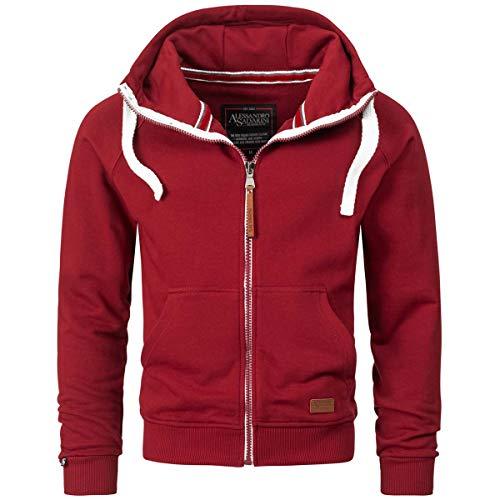 A. Salvarini Herren Sweatjacke Kapuzenpullover Jacke Kapuze Hoodie Sweater AS192 [AS-192-Bordeaux-Gr.L]