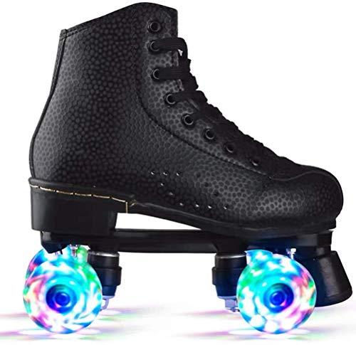 WSJYP Zapatos de Patinaje sobre Ruedas, Zapatos de Patinaje sobre Ruedas con Luces Led, Ruedas de Dos Filas, Zapatos de Patinaje sobre Ruedas de Dos Filas,40-Noir