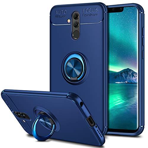 Coolden Huawei Mate 20 Lite Hülle,Premium Ultra Dünn Handyhülle 360 Grad drehbarer Ring Halter Ständer Weich TPU Bumper Outdoor Stoßfest Schutzhülle für Huawei Mate 20 Lite Blau