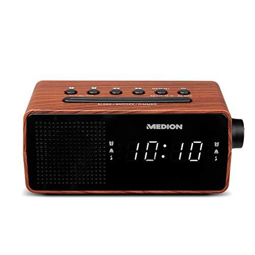 MEDION E66403 Uhrenradio (Radiowecker, PLL UKW Radio, Einschlafautomatik Sleep, Wecken durch Radio oder Alarm, Schlummertaste Snooze, 24 Stunden) Holzoptik