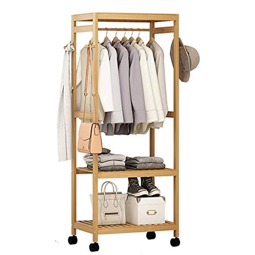 FKDEYICOAT Bamboo Clothing Garment Rack,Simple Wardrobe with 4 Caster,Freestanding Storage Shelves for Bedroom,Living Room. (Size : 99 * 35 * 165cm)