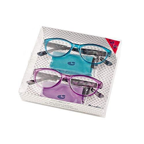 2 Occhiali da Vista Premontati 60674 con Potere +2.00 di colore Viola e Azzurro - Offerta Multipack 2 x 1