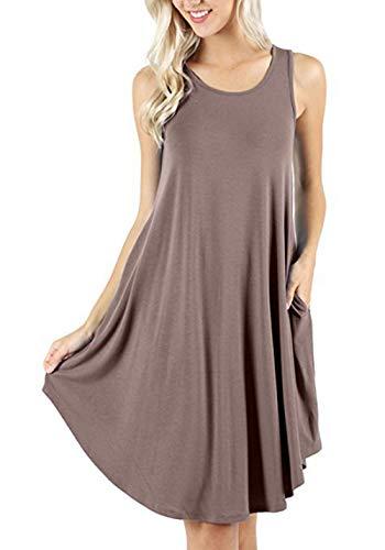 SLYZ Camiseta De Chaleco Casual Sin Mangas con Bolsillo Sin Mangas De Verano para Mujer con Vestido Modal