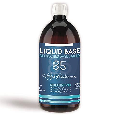 Erste Sahne Basen mit einzigartiger 85% VG / 10% PG / 5% H20 Mischung | Basis zum Mischen von E Liquid | Nikotinfrei & 100% Made in Germany | Höchste Qualität und neutraler Geschmack! (1L)