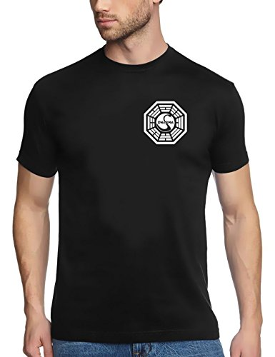 Coole Fun T-Shirts Lost Dharma Initiative t-Shirt, schwarz, Grösse: L