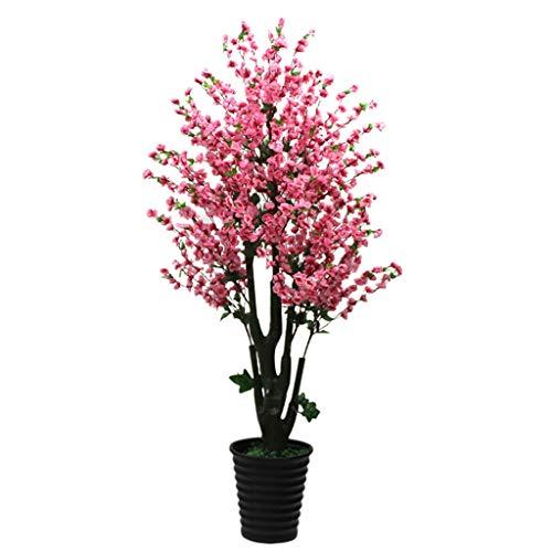 Jiande Ramificaciones 3,9ft Árbol Artificial Flor de durazno melocotón simulación Flores de Seda melocotón Flores Plantas Artificiales for Home Cubierta Exterior 120cm Rosa Decorativo