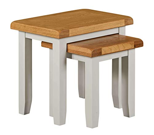 Home Source Nest of 2 Side End Coffee Tables Living Room Set, Grey, Solid Wood