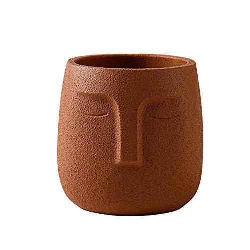 IMFILM Face Plant Pots, Terracotta Plant Pot Modern Human Face Vase Succulent Head Planter Pot with Drainage Holes Concrete Flower Pot Small Cement Face Planter for Flower (Orange)