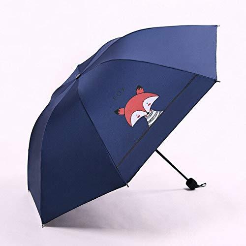 RSZHHL Paraguas 3 Paraguas Plegables creativos para niños, Parasol de Zorro pequeño,...