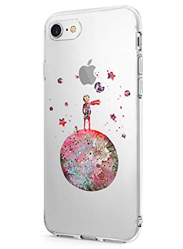 Suhctup Funda Compatible para iPhone 7/iPhone 8 Fundas, Transparente Dibujos Protección Carcasa Suave Silicona Gel TPU Bumper Ultra-Delgado Antigolpes Case Cover para iPhone 7/8(Pequeño Príncipe)