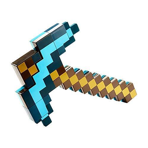 BFDMY Deformiertes Schwert Und Spitzhacke Für Kinder, Kunststoff-Replik Diamantschwert Magisches Schwert, 2 In 1, 52 cm