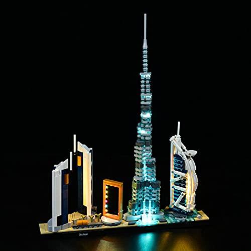WWEI Custom LED Licht Beleuchtung mit Batteriekasten Kompatibel mit Lego Architecture Dubai Skyline-Kollektion(Ohne LEGO Set)