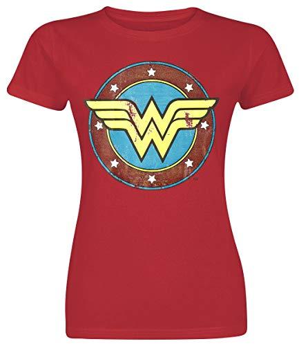 Wonder Woman Logo Mujer Camiseta Rojo S, 100% algodón, Regular