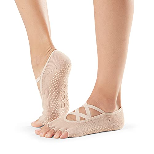 Toesox Calcetines de yoga y pilates unisex de media punta Elle, Unisex, calcetines con agarre para Yoga y Pilates, YTOENTELLENUDE-M, color carne, Medium