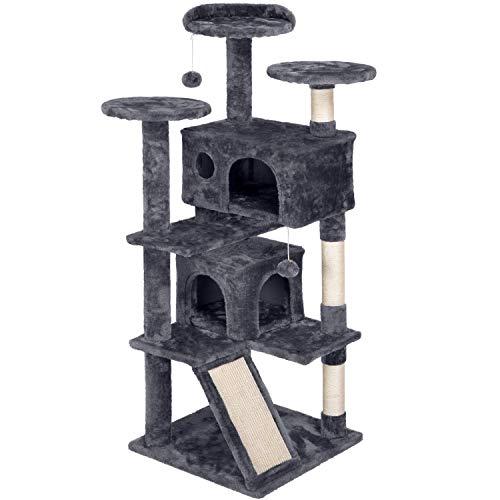Yaheetech Katzen Kratzbaum Stabiler Kletterbaum 3 Aussichtsplattformen mittelgroß Katzenbaum mit 2 Katzenhöhlen und Spielbälle137 cm hoch