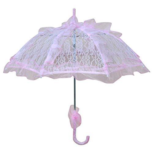 ZHS Colorido Paraguas de Novia de Boda Viejo Oeste Romántico Elegante Apertura Fleur Parasol Volantes Decoración Paraguas de Encaje Regalo, Rosa