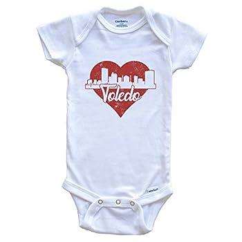 Retro Toledo Ohio Skyline Red Heart Baby Onesie 3-6 Months White