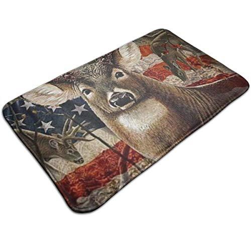 Msanlixian Felpudo de bienvenida, diseño vintage con bandera americana, para caza de ciervos, antideslizante, para interior/exterior/puerta delantera, 19,5 x 80 cm, para baño, dormitorio, cocina