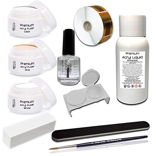Acryl Set 1 Nagelset Starterset 50ml Liquid Acrylpuder Pulver Klar - Weiß - Pink Klar - Primer Feile Buffer