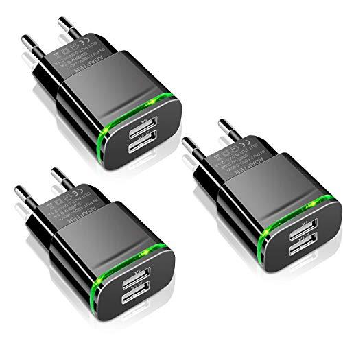 LUOATIP USB Ladegerät Stecker 2.1A 3-Pack Ladeadapter 2 Ports Netzteil Adapter Stromadapter Netzstecker Steckdose Ladestecker kompatibel für iPhone 11 XR X XS Max 8 7 6 6S Plus 5S, Samsung, Handy