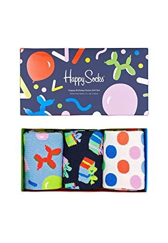 Happy Socks farbenfrohe und verspielte Happy Birthday Socks Gift Box 3-Pack Geschenkboxen für Männer und Frauen, Premium-Baumwollsocken, 3 Paare, Größe 41-46.