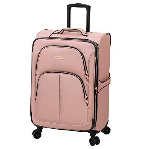 LONDON FOG Bromley Softside Expandable Spinner Luggage, rose gold, Checked-Medium 24-Inch