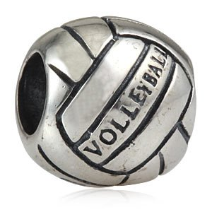 Hoobeads 925 Sterling Silver Sports Charms Volleyball Beads Fits Chamilia Biagi Troll Beads Europen Style Bracelets by Antique Silver Beads