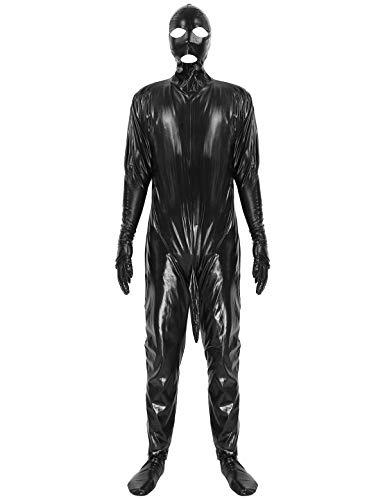 winying Herren Lack Leder Body Ganzkörper Anzug Jumpsuit mit Kopfmaske Hooded Top Fetisch Cosplay Verkleidung Nachtclub Bar Outftis Schwarz M