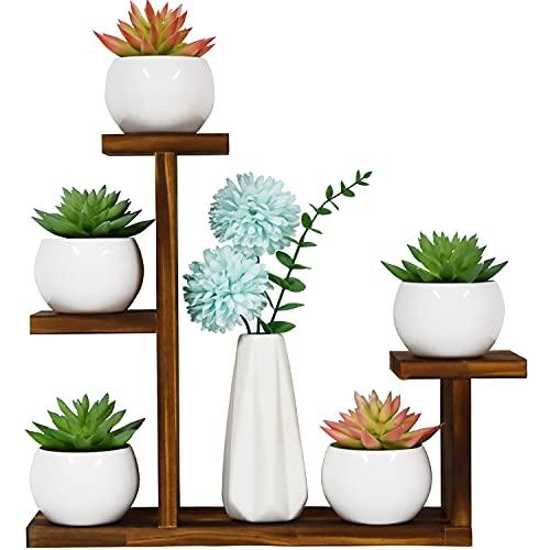 LCSEVEN Wood Plant Stand, Small Plant Stands for Indoor Tabletop Desktop, Mini Succulent Windowsill Shelf, Flower Herb Display Holder Rack for Home, Office, Living Room, Bedroom Decoration