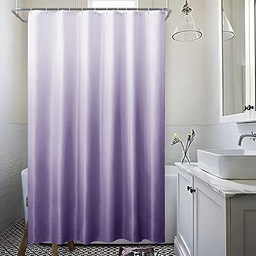 Bath Ombre Fabric Shower Curtains Sets for Bathroom with 12 Hooks,Textured Waffle Weave Gradient Waterproof Bath Curtains,1 Panel,72Wx72L Inches,Light Purple