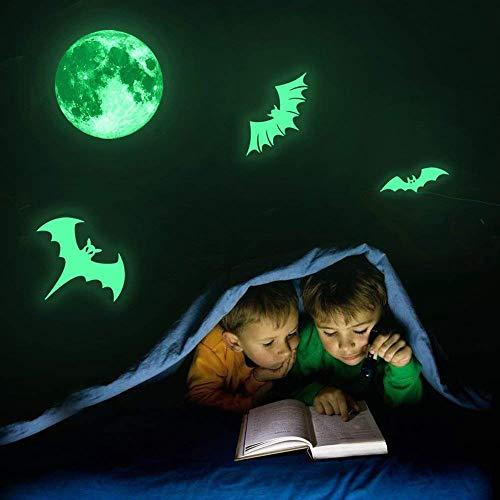 HARRYSTORE Gespenstisch Mond Fledermäuse Fluoreszierende Leuchtenden Aufkleber Nacht Leuchten Aufkleber Wand Halloween